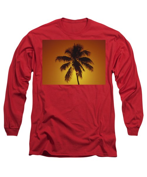 Coconut Palm Tree Sunset Long Sleeve T-Shirt
