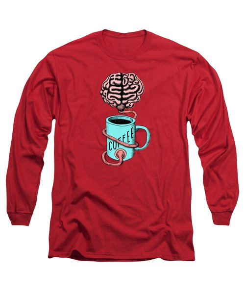 Coffee For The Brain Funny Illustration Long Sleeve T-Shirt