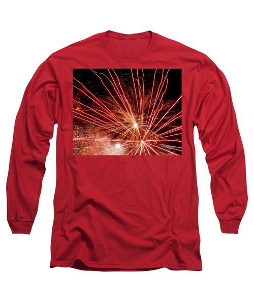 Long Sleeve T-Shirt featuring the photograph Color Blast Fireworks #0731 by Barbara Tristan