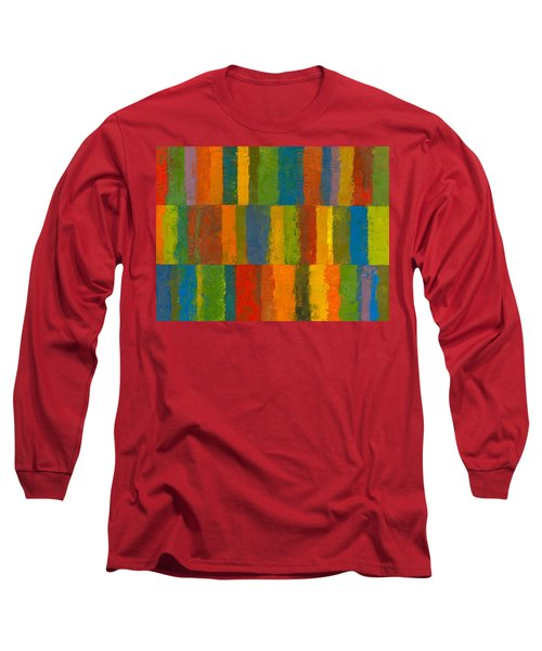 Long Sleeve T-Shirt featuring the painting Color Collage With Stripes by Michelle Calkins