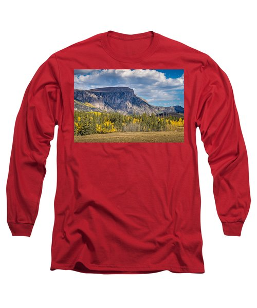 Colorado Fall Landscape With Aspen Trees Between Creede And Lake Long Sleeve T-Shirt by John Brink