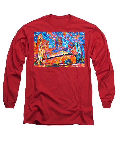 Long Sleeve T-Shirt featuring the painting Colorful Chicago Bean by Dan Sproul