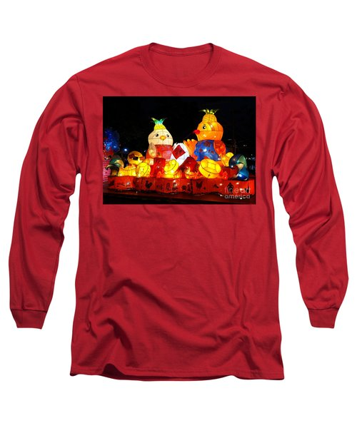 Long Sleeve T-Shirt featuring the photograph Colorful Chinese Lanterns In The Shape Of Chickens by Yali Shi