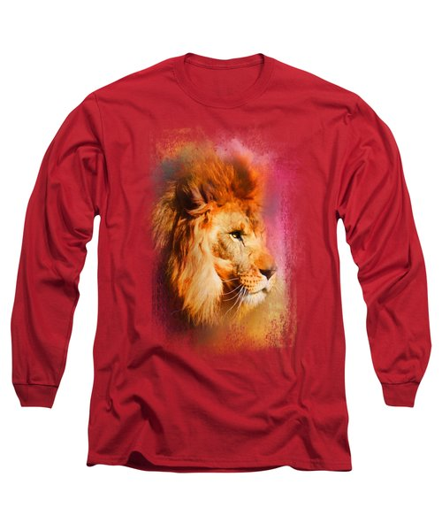 Colorful Expressions Lion Long Sleeve T-Shirt by Jai Johnson