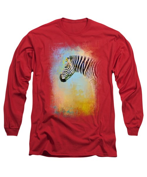 Colorful Expressions Zebra Long Sleeve T-Shirt by Jai Johnson