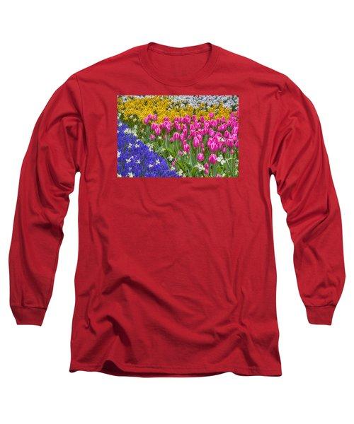 Colorful Flowers Long Sleeve T-Shirt by Nadia Sanowar