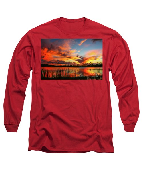 Colorful Fort Pierce Sunset Long Sleeve T-Shirt by Tom Claud