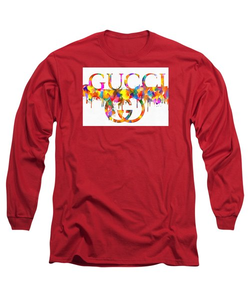 Colorful Gucci Paint Splatter Long Sleeve T-Shirt