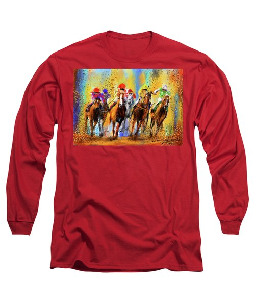 Colorful Horse Racing Impressionist Paintings Long Sleeve T-Shirt