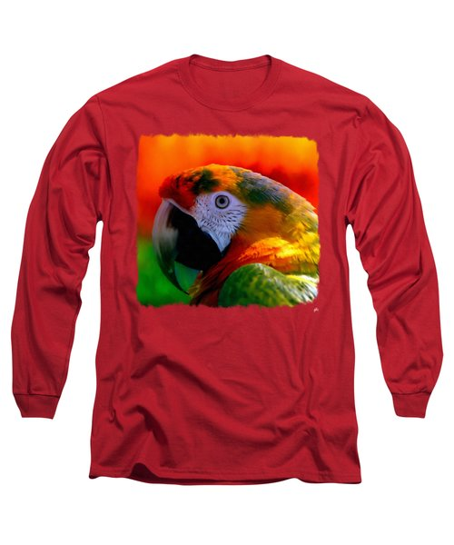 Colorful Macaw Parrot Long Sleeve T-Shirt by Linda Koelbel