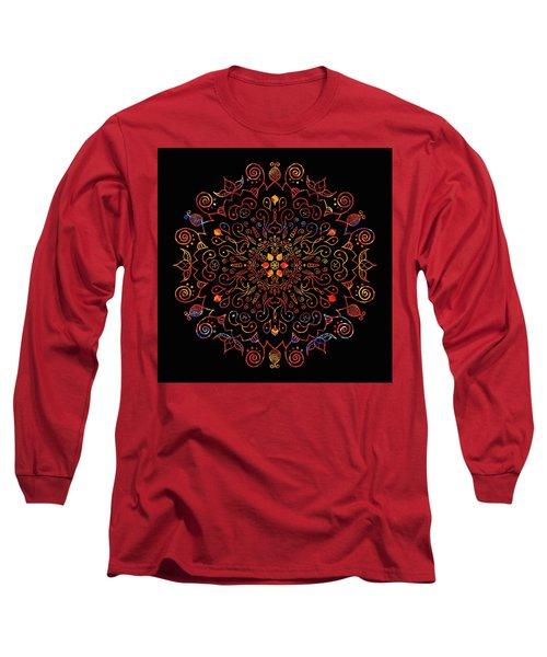 Colorful Mandala With Black Long Sleeve T-Shirt