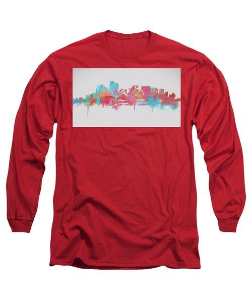 Colorful Sydney Skyline Silhouette Long Sleeve T-Shirt
