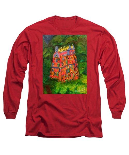 Colorful Temple Gopuram Long Sleeve T-Shirt by Brindha Naveen