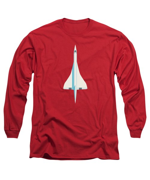 Concorde Jet Airliner - Crimson Long Sleeve T-Shirt