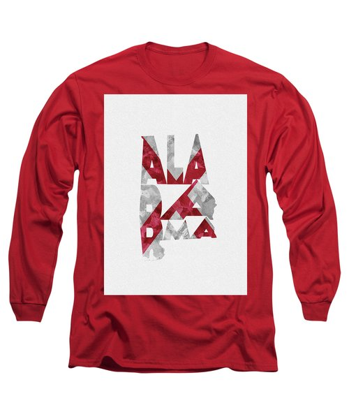 Long Sleeve T-Shirt featuring the painting Alabama Typographic Map Flag by Inspirowl Design