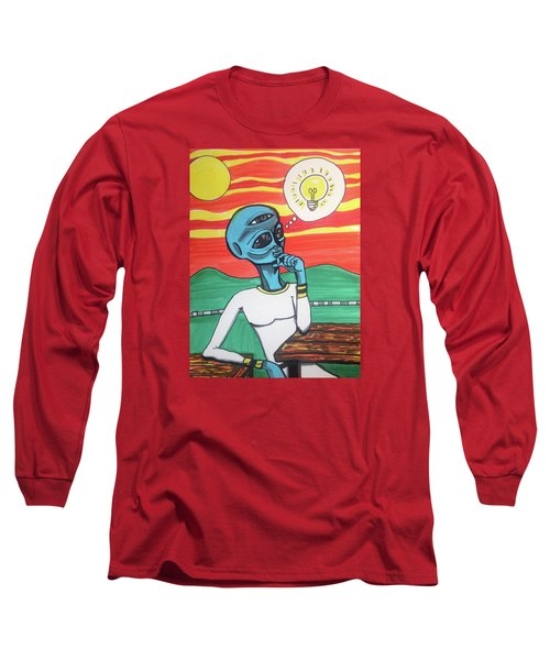 Contemplative Alien Long Sleeve T-Shirt