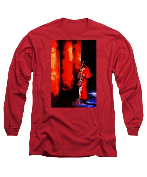 Long Sleeve T-Shirt featuring the digital art Cool Orange Monk by Cameron Wood