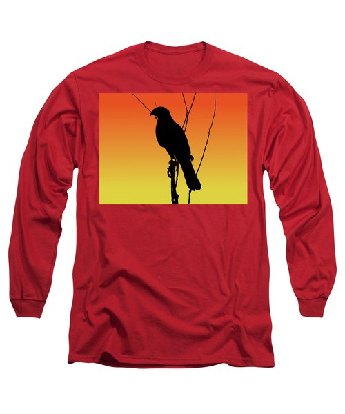 Coopers Hawk Silhouette At Sunset Long Sleeve T-Shirt