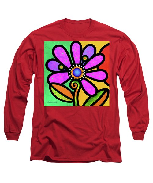 Cosmic Daisy In Pink Long Sleeve T-Shirt