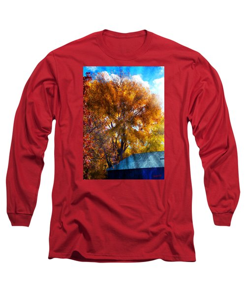 Long Sleeve T-Shirt featuring the photograph Cottonwood Conversations With Cobalt Sky  by Anastasia Savage Ealy