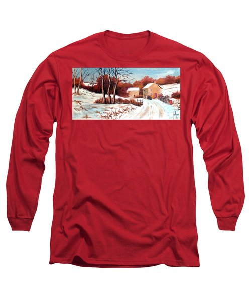 Long Sleeve T-Shirt featuring the painting Country Snow by Jim Phillips