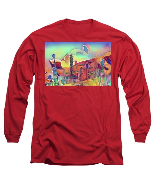 Country Villa Nestled In A Field Of Poppies Long Sleeve T-Shirt