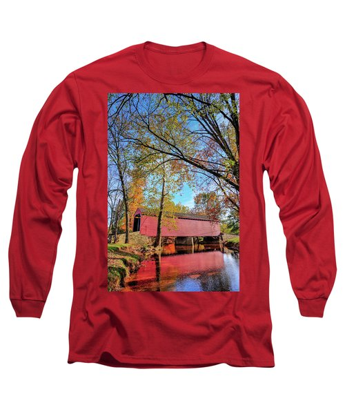 Covered Bridge In Maryland In Autumn Long Sleeve T-Shirt
