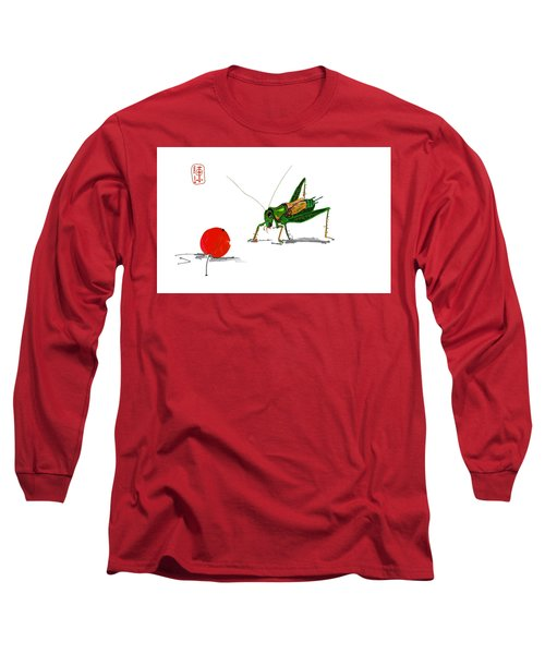 Cricket  Joy With Cherry Long Sleeve T-Shirt by Debbi Saccomanno Chan