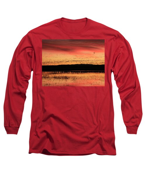 Crimson Sunset At Bosque Long Sleeve T-Shirt