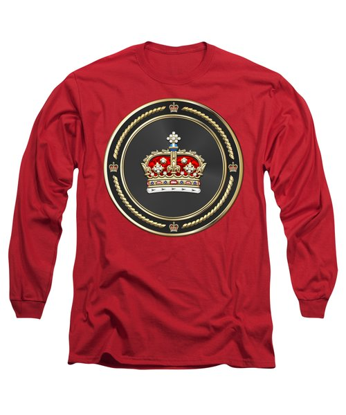 Crown Of Scotland Over Red Velvet Long Sleeve T-Shirt