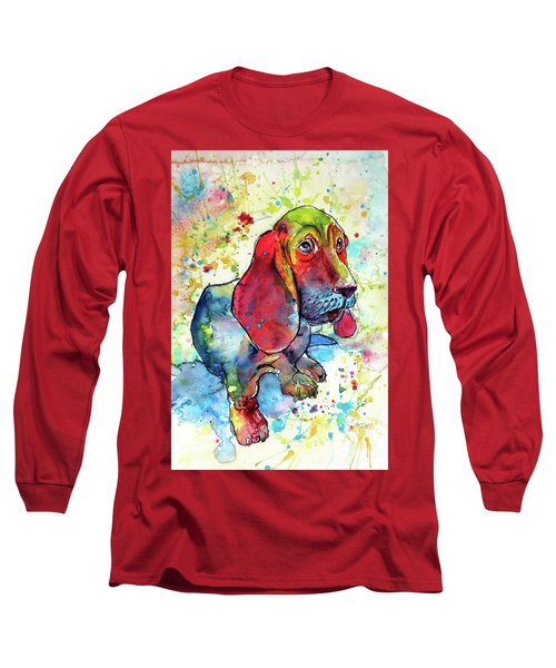 Cute Basset Hound Long Sleeve T-Shirt by Kovacs Anna Brigitta
