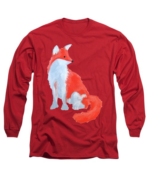 Cute Fox With Fluffy Tail Long Sleeve T-Shirt