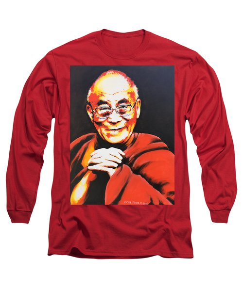 Dalai Lama Long Sleeve T-Shirt by Victor Minca