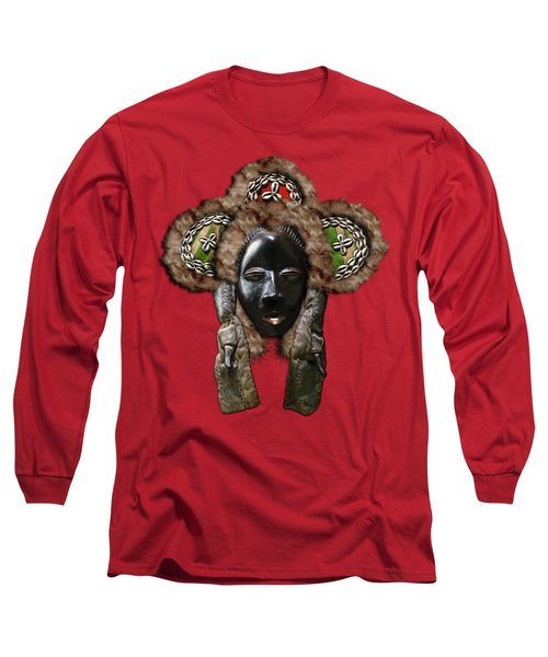Dan Dean-gle Mask Of The Ivory Coast And Liberia On Red Leather Long Sleeve T-Shirt