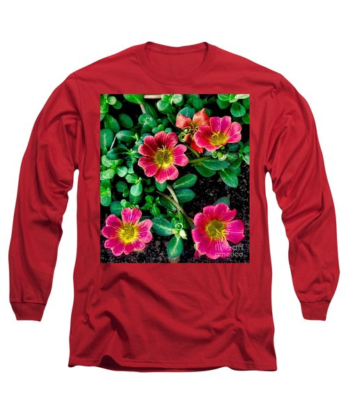 Dark Pink Purselane Flowers Long Sleeve T-Shirt