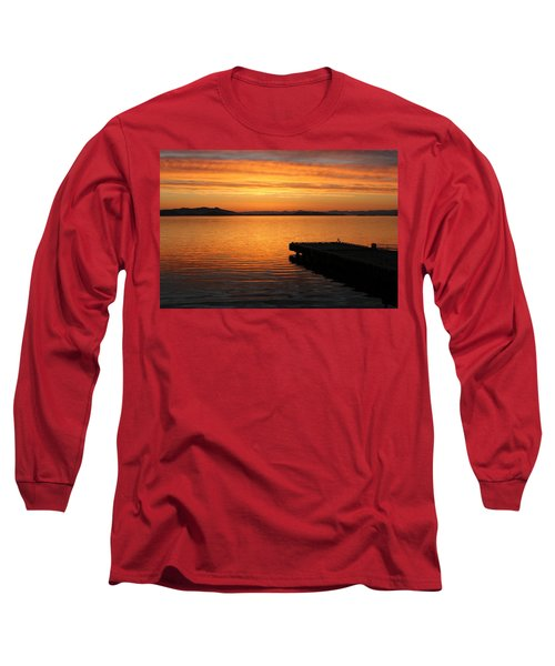 Dawn On The Water At Dusavik Long Sleeve T-Shirt