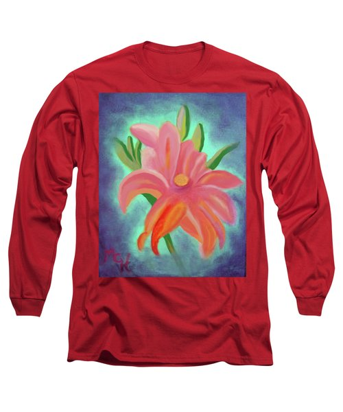 Long Sleeve T-Shirt featuring the painting Daylily At Dusk by Margaret Harmon