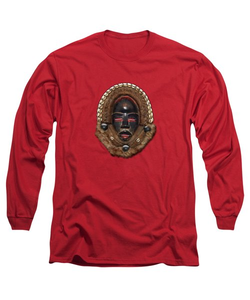 Dean Gle Mask By Dan People Of The Ivory Coast And Liberia On Red Leather Long Sleeve T-Shirt