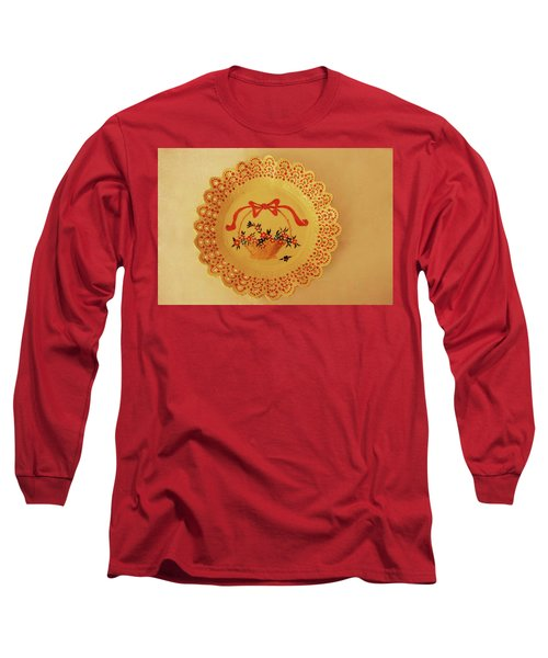Decorated Plate With A Basket And Flowers Long Sleeve T-Shirt