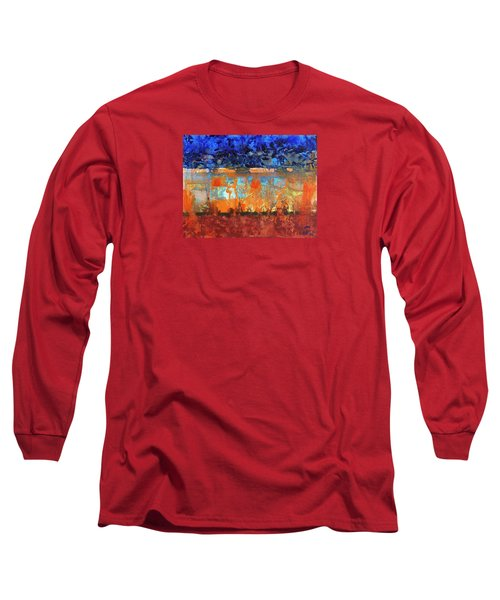 Long Sleeve T-Shirt featuring the painting Desert Strata by Walter Fahmy