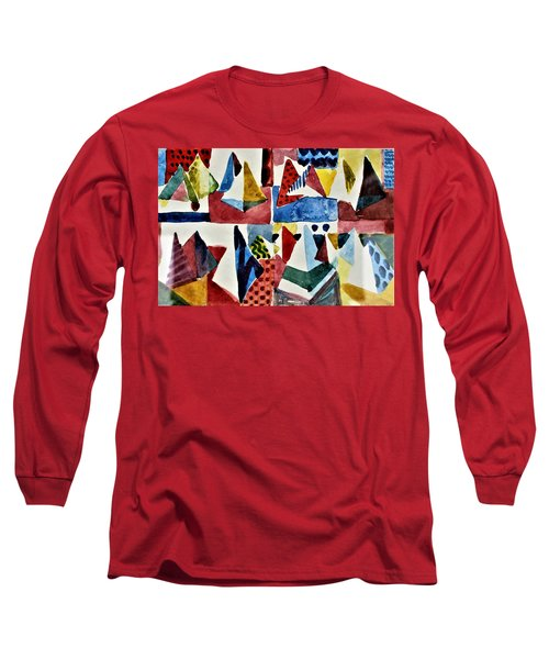 Long Sleeve T-Shirt featuring the painting Designs For Pyramids by Mindy Newman