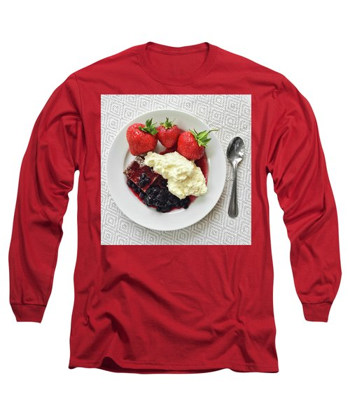 Dessert With Strawberries And Whipped Cream Long Sleeve T-Shirt by GoodMood Art