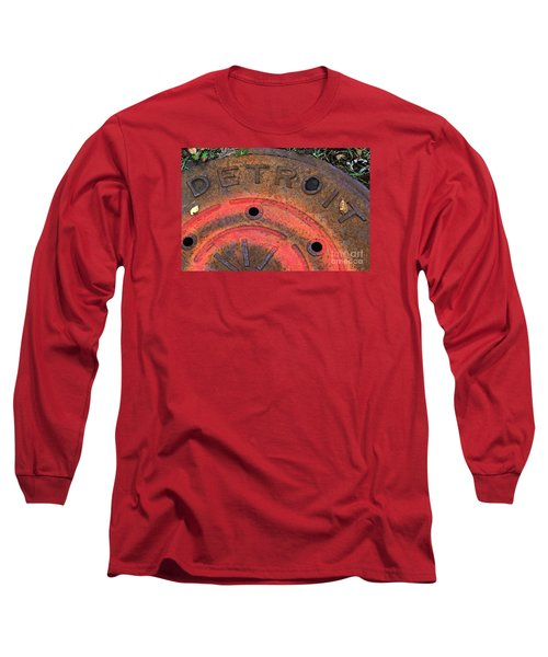 Detroit Manhole Cover Spray Painter Red Long Sleeve T-Shirt by Sandra Church