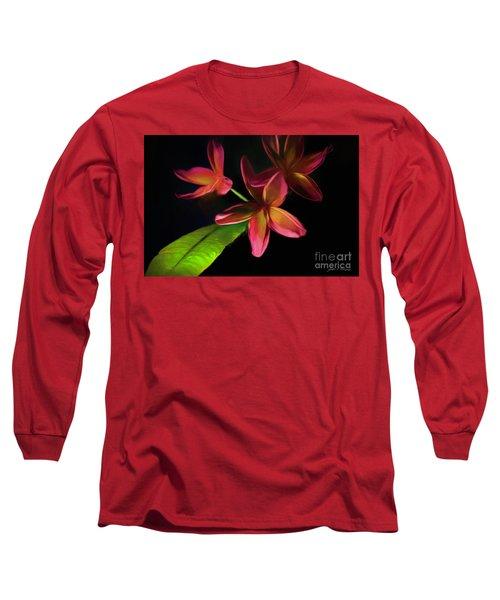 Digitized Sunset Plumerias #2 Long Sleeve T-Shirt