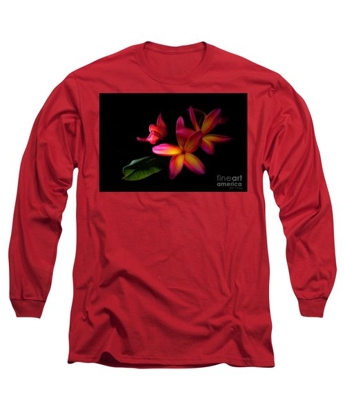 Digitized Sunset Plumerias  Long Sleeve T-Shirt