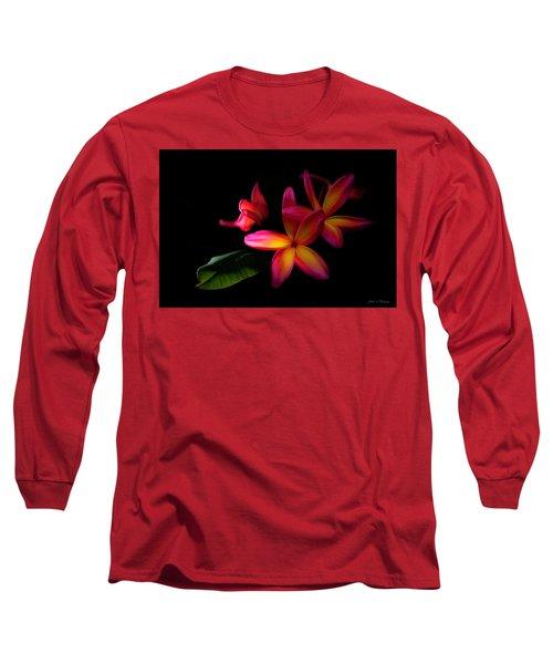Digitized Sunset Plumerias  Long Sleeve T-Shirt