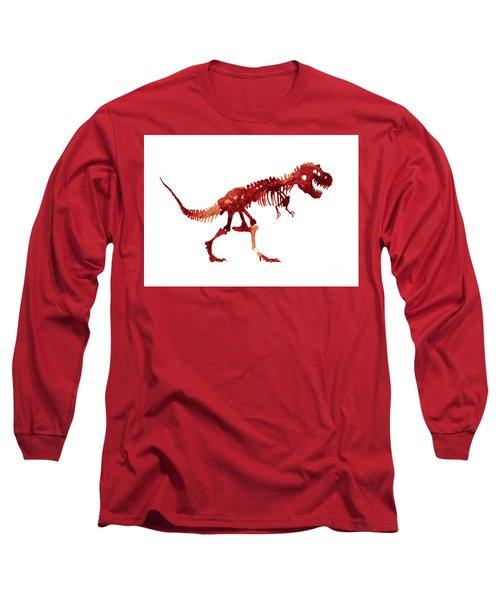 Ceratosaurus Watercolor Painting, Dinosaur Kids Room Poster, Horned Lizard Red Orange Jurrasic World Long Sleeve T-Shirt