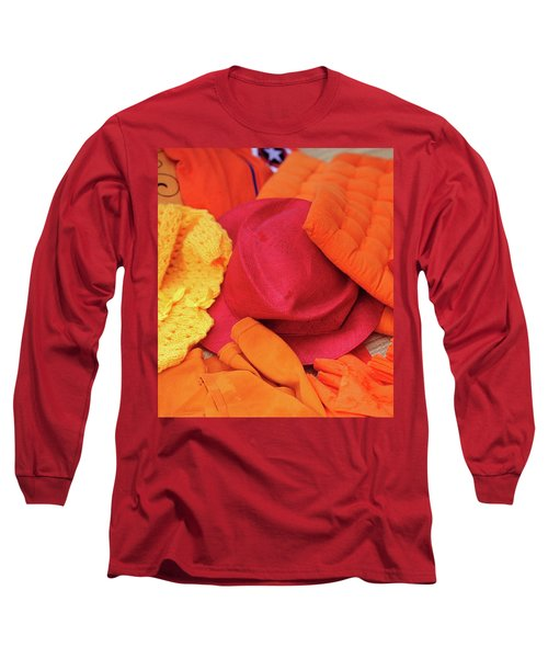 Long Sleeve T-Shirt featuring the photograph Display Of Orange And Red Clothing by Jenny Rainbow