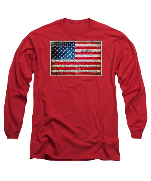 Distressed American Flag And Second Amendment On White Bricks Wall Long Sleeve T-Shirt by M L C