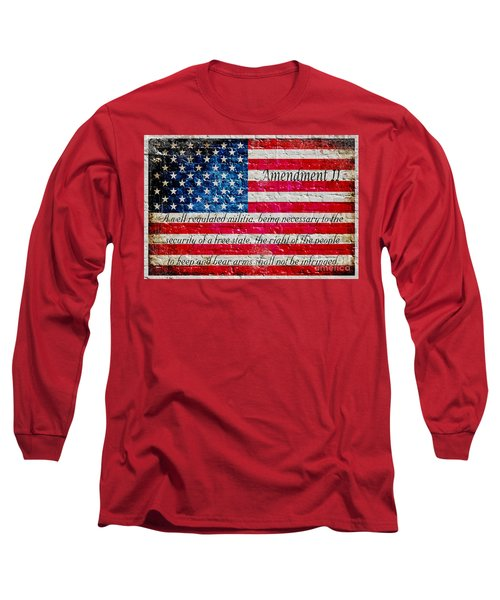Distressed American Flag And Second Amendment On White Bricks Wall Long Sleeve T-Shirt